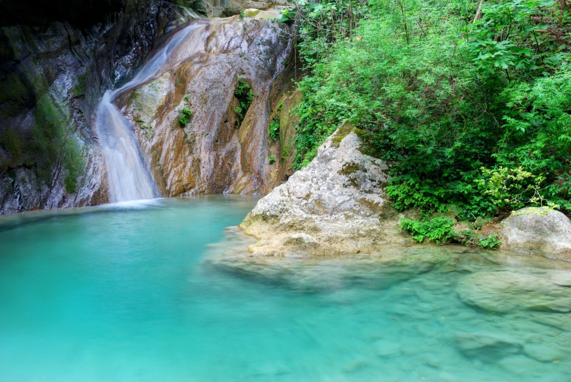 'Natural pool with azure water and a small waterfall' - Lefkada
